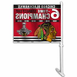 Blackhawks 6 Time Stanley Cup Champs Car Flag and Window Fla