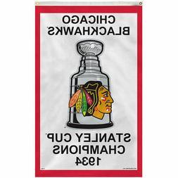 Chicago Blackhawks 1934 Stanley Cup Champions 3' x 5' Vertic
