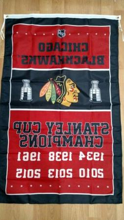 Chicago Blackhawks 3x5 Stanley Cup Champions Flag. Free ship
