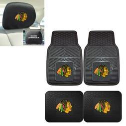 Chicago Blackhawks 4 Piece Heavy Duty Car Mats and 2 Head Re