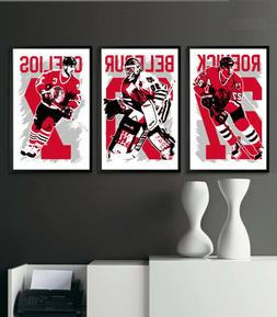 CHICAGO BLACKHAWKS art print/poster FAN PACK #2 3 PRINTS! JE