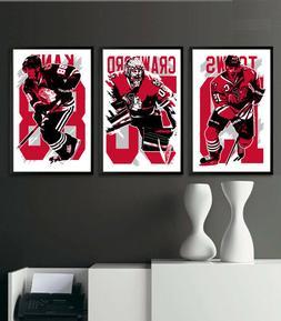 CHICAGO BLACKHAWKS art print/poster FAN PACK #1 3 PRINTS! JO