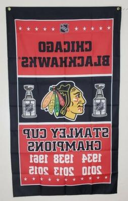 Chicago Blackhawks Banner 3x5 Ft Flag Stanley Cup Champions
