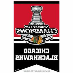 Chicago Blackhawks 27x37 Banner - 2015 Champion