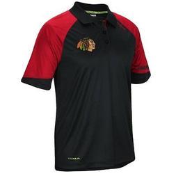 Chicago Blackhawks Black Center Ice Synthetic Polo