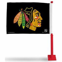 Chicago Blackhawks Black Flag with Red Pole Car Auto Window