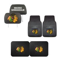 Chicago Blackhawks Car Truck Front Rear Floor Mats Set & Hea