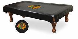 Chicago Blackhawks HBS Black Vinyl Billiard Pool Table Cover