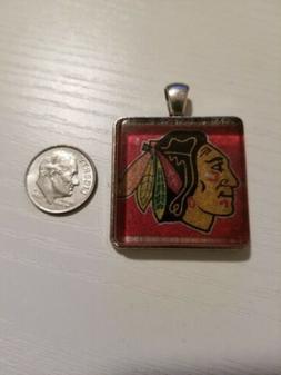 Chicago Blackhawks Indian head NHL  hockey crystal pendant c