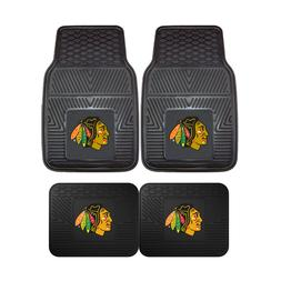 Chicago Blackhawks NHL 2pc and 4pc Mat Sets - Heavy Duty-Car