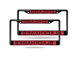 Chicago Blackhawks NHL Black Metal  Laser License Plate Fram