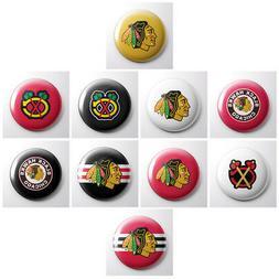 CHICAGO BLACKHAWKS - NHL hockey pinback buttons - sports tea