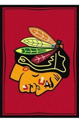 "Milliken Chicago Blackhawks NHL Team Spirit Area Rug, 5'4"" b"