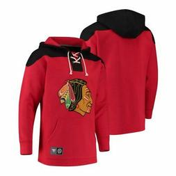 chicago blackhawks red lace up fleece hockey