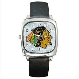 Chicago Blackhawks Round & Square Leather Strap Watch - Hock