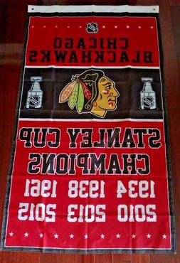 Chicago Blackhawks Stanley Cup Champions Flag 3ft x 5ft Poly