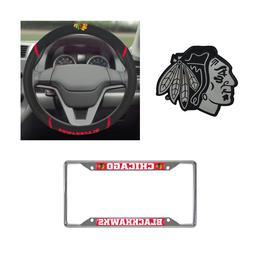 Chicago Blackhawks Steering Wheel Cover, License Plate Frame