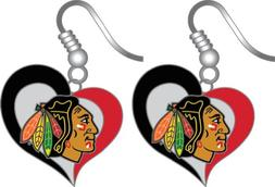 Chicago Blackhawks Swirl Heart Earring NHL Dangle Logo Charm