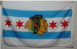 Chicago City Blackhawks Fans Flag Banner Man Cave 3x5 Feet M