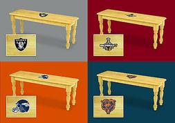 Wood Bench with Sports Team Logo Solid Wood Farmhouse Style