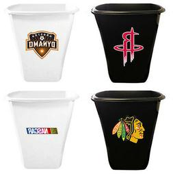 FC890 SPORTS TEAM LOGO THEMED WHITE or BLACK TRASH CAN WASTE