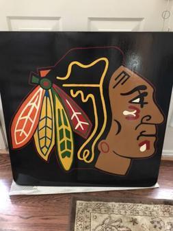 Hand painted NHL Chicago Blackhawks Champs Logo Hockey Pub T