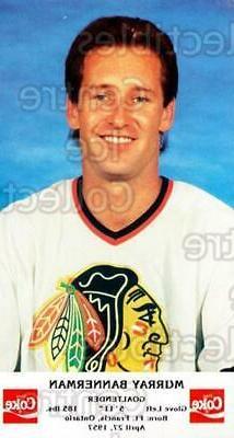 1987-88 Chicago Blackhawks Postcards Coke #1 Murray Bannerma