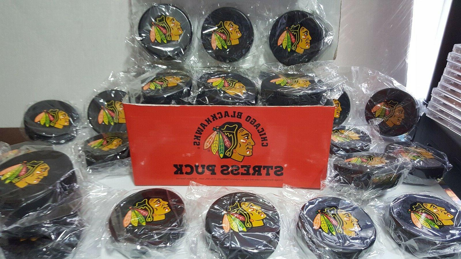 6 chicago blackhawks nhl hockey stress puck