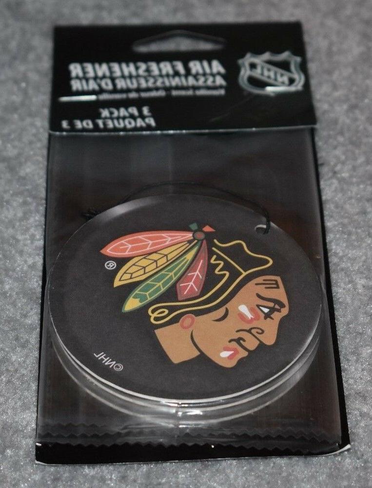 chicago blackhawks 3 pack air freshener vanilla