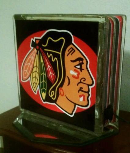 chicago blackhawks glass block light home decor