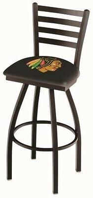 Chicago Blackhawks HBS Black Ladder Back High Top Swivel Bar