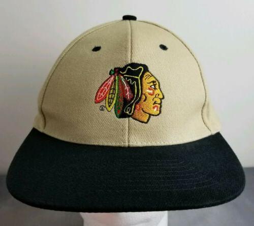 chicago blackhawks nhl hat brown black embroidered