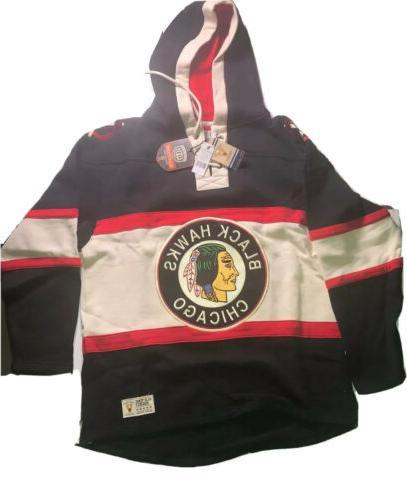 chicago blackhawks nhl vintage jersey laced hoodie
