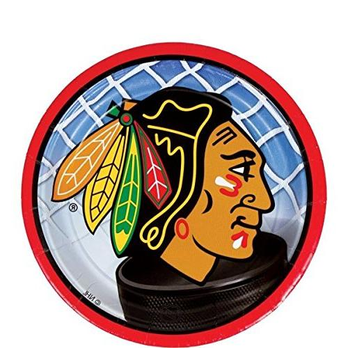 chicago blackhawks round dessert plate