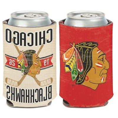 chicago blackhawks vintage style neoprene can cooler