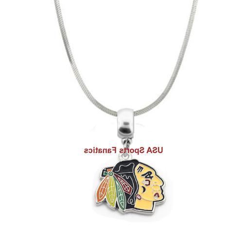 nhl chicago blackhawks logo pendant necklace on