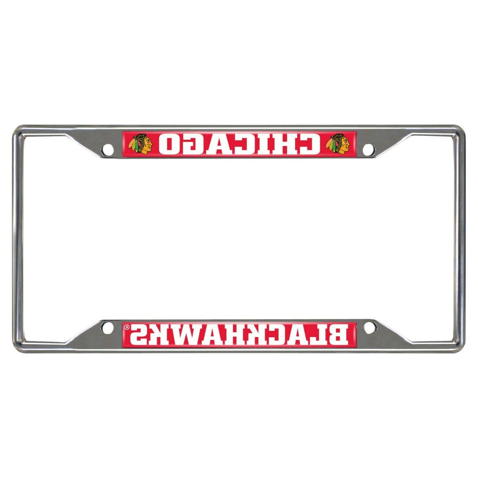 nhl chicago blackhawks metal chrome license plate