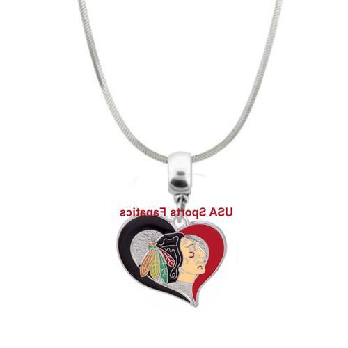 nhl chicago blackhawks swirl heart logo pendant