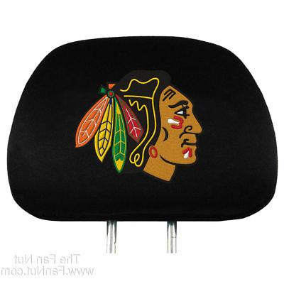 pair of chicago blackhawks head rest covers