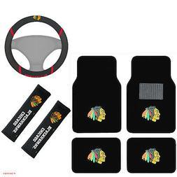 New NHL Chicago Blackhawks Floor Mats Steering Wheel Cover S