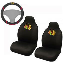 NHL Chicago Blackhawks Car Truck Front Seat Covers & Steerin