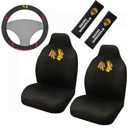 NHL Chicago Blackhawks Car Truck Seat Covers Steering Wheel