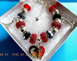 NHL CHICAGO BLACKHAWKS Crystal European Team Charm Bracelet