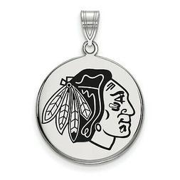 Stg Silver NHL Hockey License Chicago Blackhawks Large Ename