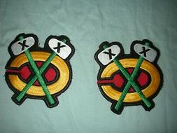 TWO CHICAGO BLACKHAWKS HOCKEY SHOULDER PATCHES, EMBLEMS, MUS